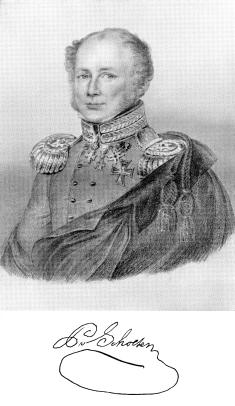 Litografi af von Scholten med hans underskrift.